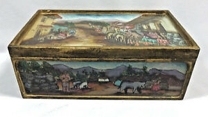 Vintage Wood Box With Reverse Hand Painted Glass Top Rare