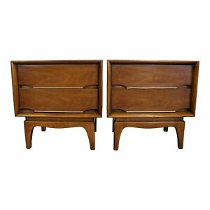 Mid Century Modern Kent Coffey The Forum Walnut Nightstands