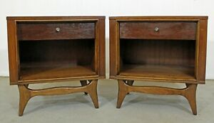 Pair Of Mid Century Danish Modern Kent Coffey Insignia Walnut Nightstands