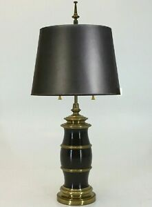 Very Large And Heavy Brass And Brown Painted Table Lamp By Stiffel Vintage