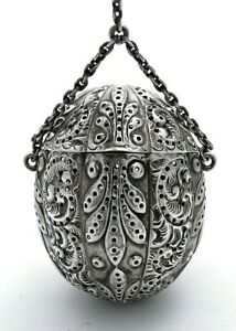 Gorham Sterling Ornate Tea Ball 130 C1890