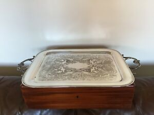 Nice 2 Handled Silver Plated On Copper Chased Butlers Tray 22 X 12 5 Wm Rogers