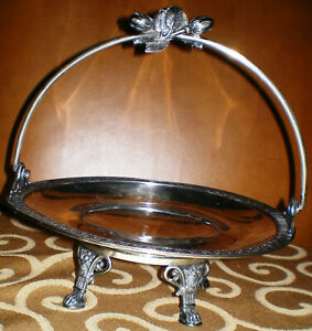 Antique Rockford Co Silver Plate Quadruple 1830 Footed Handle Bride S Basket