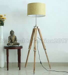 Retro Style Nautical Tripod Wooden Floor Lamp Shade Stand Vintage Home Decor