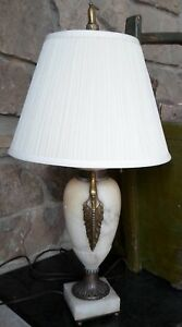 Large Vintage Alabaster Marble Bronze Based Lamp With Silk Shade 1920s