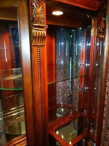 Mahogany Cherry Paw Foot Carved Bow Glass Curio Cabinet China Hutch Display