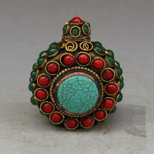 Brass Inlaid Red Turquoise Snuff Bottle Old Exquisite Antique Collection Statue