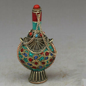 Exquisite Nepal Pure Brass Carving Turquoise Snuff Bottle Antique Collect Statue