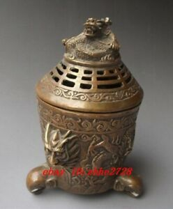 Chinese Copper Bronze Engraving Dragon Incense Burners