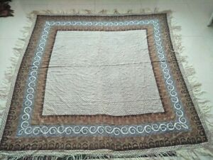 Antique French Paisley Kashmir Print Piano Shawl Square Size 68 By63 Multicolor