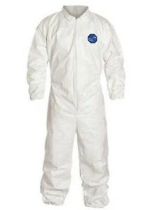 Case Of 25 Dupont Tyvek Ty125swhxl002500 Collared Disposable Coveralls Xl White