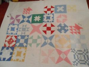Vintage Quilt Top Cotton 70 X 80 Dated 1928 With Names Distressed