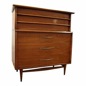 Mid Century Modern Kent Coffey The Foreteller Walnut Tall Chest Dresser