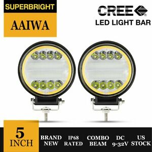 5inch 144w Round Cree Led Work Lights Offroad Suv Truck Atv Drl Driving Fog Lamp