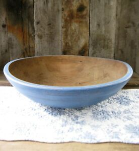 Lg Early Antique Dough Bowl W Double Rim Chambray Blue Milk Paint 16 1 2