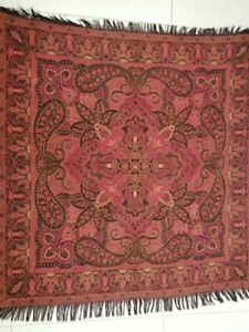 Antique French Paisley Kashmir Square Piano Shawl Wool Size 37 X35 Table Cloth