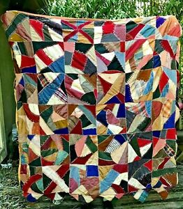 Antique Crazy Quilt Large Complete Wool Silk Embroidery Nice Full Size