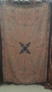 Antique French Paisley Kashmir Square Piano Shawl Wool Size 85 X54good Condition