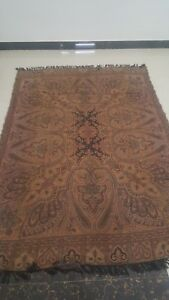 Antique French Paisley Kashmir Square Piano Shawl Wool Size 100 X57 Doubleside