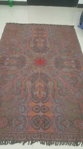 Antique French Paisley Kashmir Square Piano Double Side Shawl Wool Size 87 X56