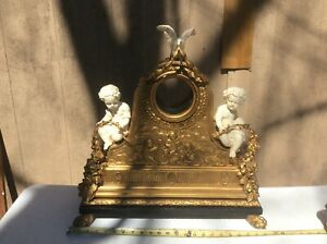 Antique French Carved Wood And Gesso Clock Case Circa 1865