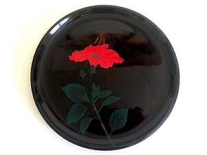 Vtg Mid Century Japan Hibiscus Flower Blossom Relief Round Black Lacquer Tray