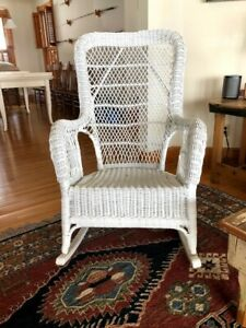 Vintage High Back White Wicker Rocking Chair Original Excellent Condition