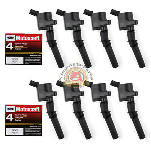 8 Pack Motorcraft Spark Plugs Sp413 Ignition Coils Dg508 For Ford F 150 Mustang