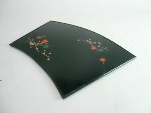 Japanese Lacquer Ware Tray Vtg Wooden Obon Plate Black Rectangle Fan Shape Lw608