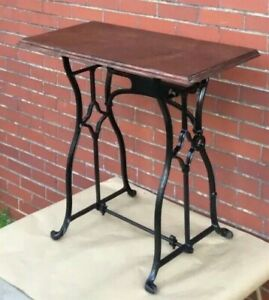 Antique Vintage Cast Iron Base Wooden Top Hallway Console Table Sewing Machine