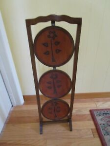 Vintage 3 Tier Solid Wood Inlay Pie Muffin Stand Table Floral Folding 35 Tall