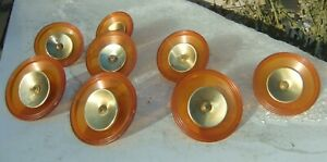 8 Mid Century Lrg Clear Amber Lucite Acrylic Brass Round Chest Of Drawer Pulls