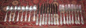 24 Pieces Prince Eugene By Alvin Sterling Silver Flatware