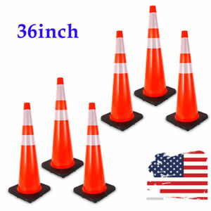 6 Pack 36 Safety Cones Pvc Road Traffic Cone With 2 Reflective Tape Black Base