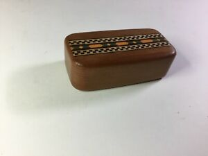 Vintage Marquetry Inlaid Wood Trinket Box Small Size With Heart Mark