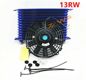 13 Row Engine Trans Transmission 10an Universal Oil Cooler 8 Electric Fan Kit
