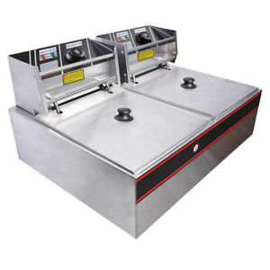 12l 5000w Stainless Steel Electric Countertop Deep Fryer Dual Tank Basket For