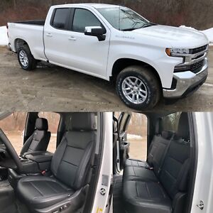 2019 Chevrolet Silverado Double Cab Lt Katzkin Leather Seat Covers Kit Black