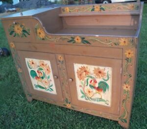 Primitive Paint Decorated Dry Sink Cabinet Bar Rooster 1948 Berwyn Pa Kitchen Is