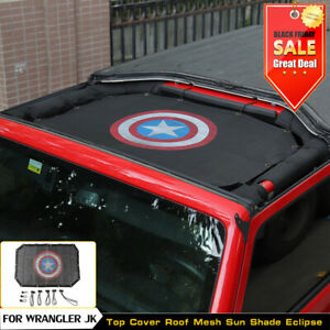 Fit For 2007 17 Jeep Wrangler Jk 2dr Uv Protection Sunshade Top Mesh Roof Cover