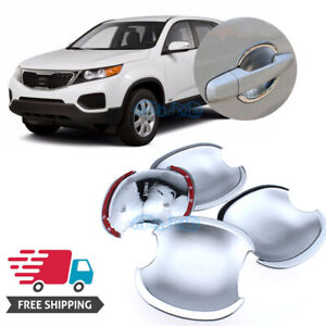 4x Accessories Chrome Door Handle Bowl Covers For Kia Sorento 2010 2014 4 Doors