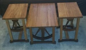 Cowboy Western Wood Wagon Wheel Coffee End Table Matching Set Vintage