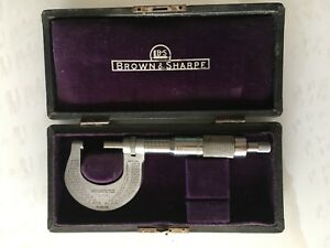 Antique Brown Sharpe Micrometer Caliper Tool In Box Case 1900 s