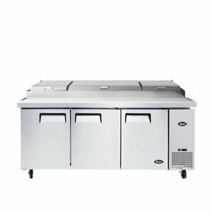 Atosa Usa Mpf8203gr 93 Three Section Refrigerated Pizza Prep Table 28 4 Cu
