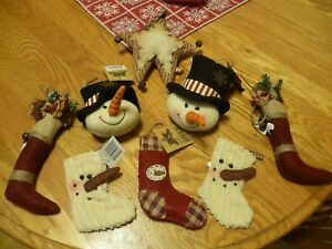 Lot Of Primitive Christmas Ornaments Bowl Fillers New