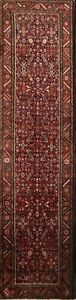 Tribal Geometric Hamedan Persian Oriental Hand Knotted 3x13 Wool Runner Rug