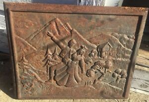 Vtg Architecture Salvage Cast Iron Panel Grate Victorian Dancing Ornate 18 25