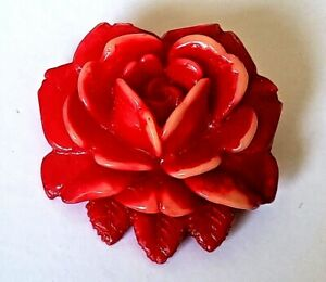 Antique Vintage Celluloid Button Large Dimensional Red Rose Realistic