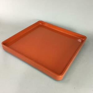 Japanese Lacquer Ware Tray Wood Red Vermilion Obon Square Vtg Nurimono Ur31