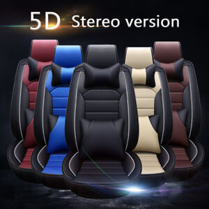 Deluxe Leather Universal Car Seat Cover 5 Seat Front Rear Full Surround W pillow